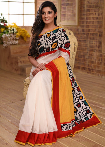 White chanderi saree with exclusive abstract printed border