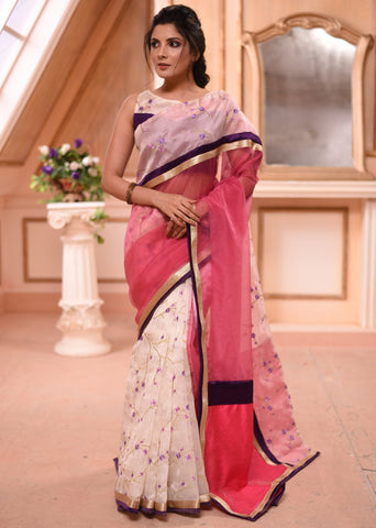 Exclusive floral motifs embroidered organza saree with pink organza combination