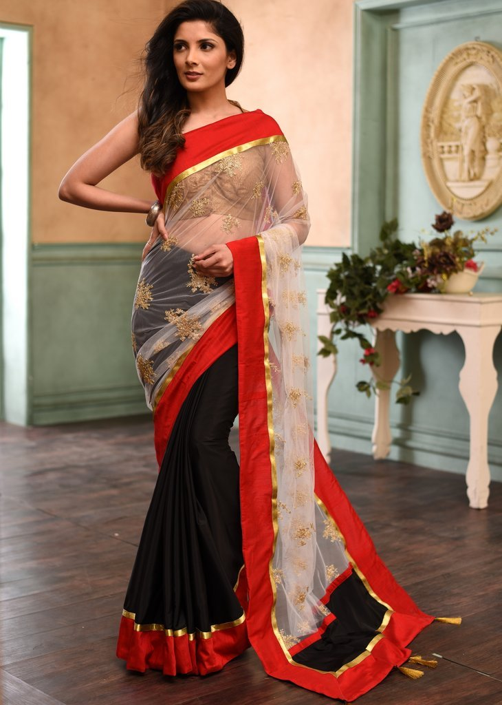 Embroidered lace & black satin combination saree