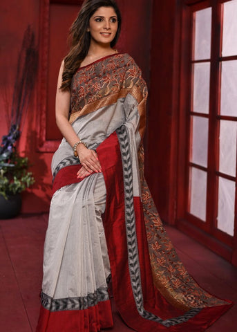Grey chanderi saree with exclusive printed border