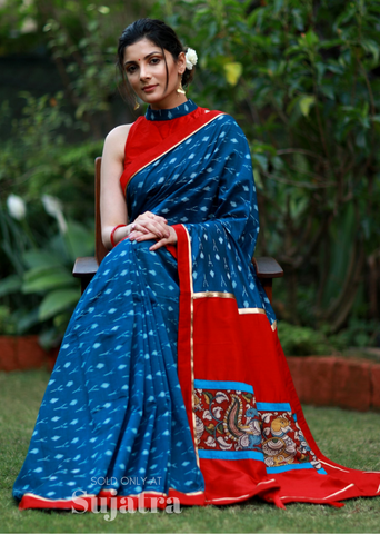 Mercerised cotton ikat saree with kalamkari patch on pallu