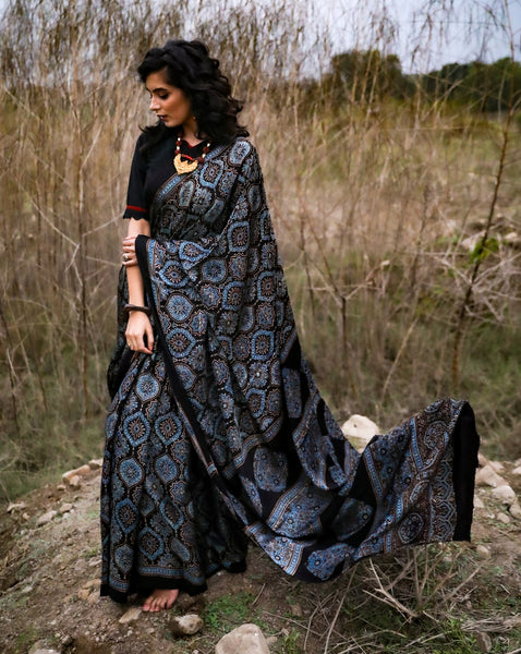 Exclusive pure modal silk hand block printed black & blue combination saree