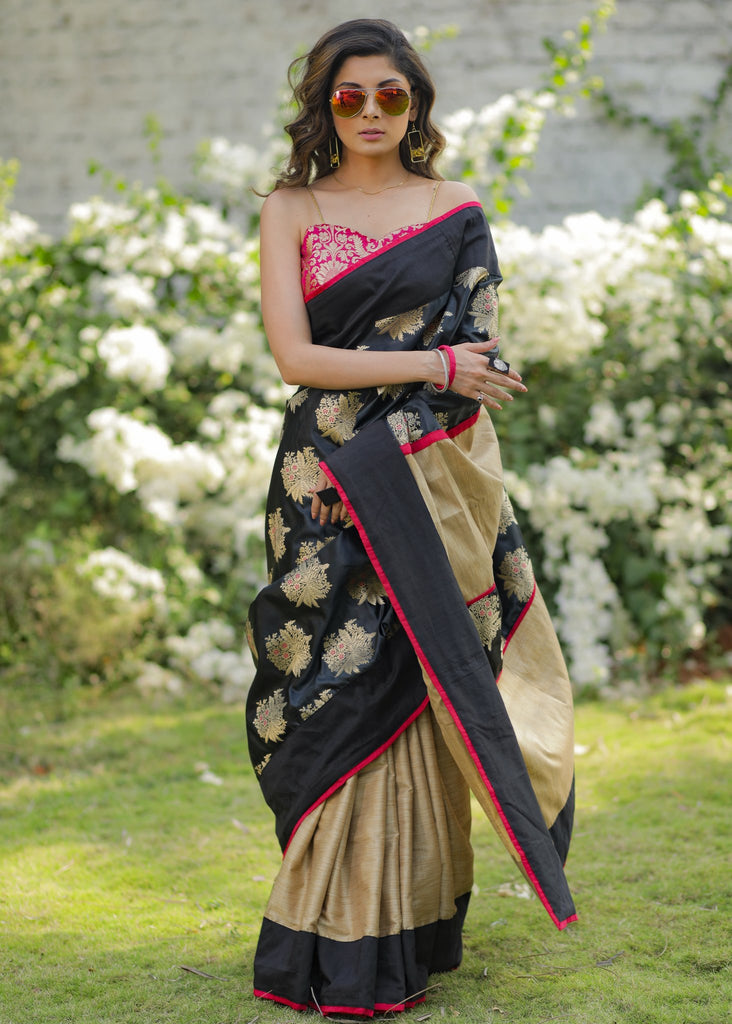 Black benarasi & golden semi silk pleats combination saree with pink  broacade blouse