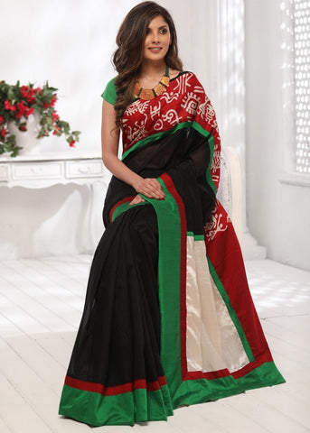 Black chanderi saree with abstract printed border & pure silk pallu