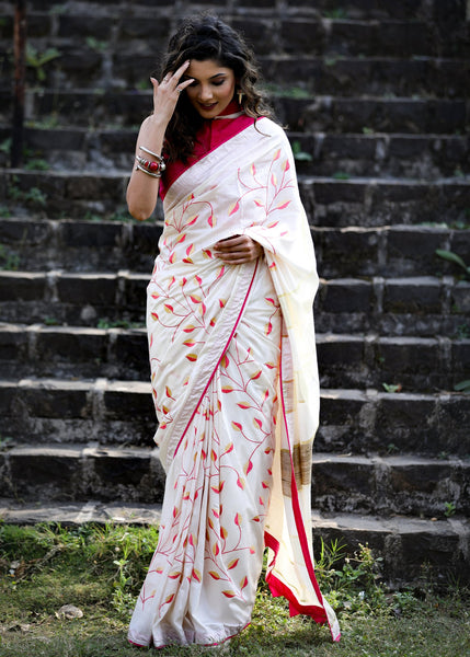 Exclusive white soft silk embroidered saree