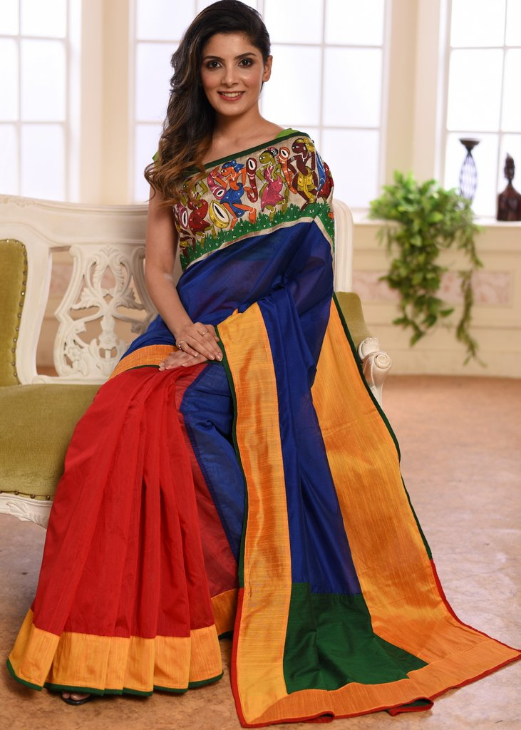 Blue & red chanderi combination saree with hand painted saothal tribal art - Sujatra