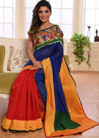Blue & red chanderi combination saree with hand painted saothal tribal art