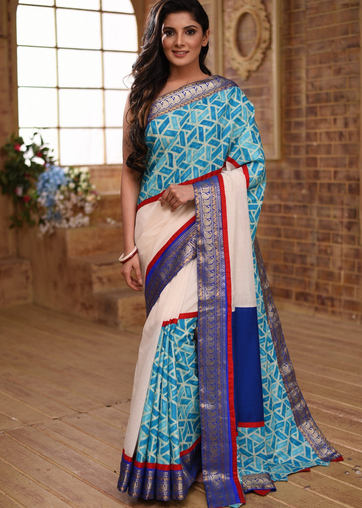 White chanderi saree with benarasi border & exclusive printed design - Sujatra