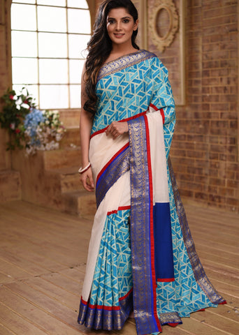 White chanderi saree with benarasi border & exclusive printed design