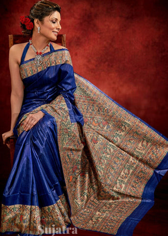 Royal blue pure Raw Silk saree with hand painted Madhubani work all over