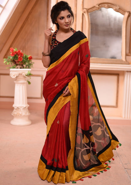 Exclusive jute linen mix saree with jamdani motif pallu and multicolored BP as shown - Sujatra