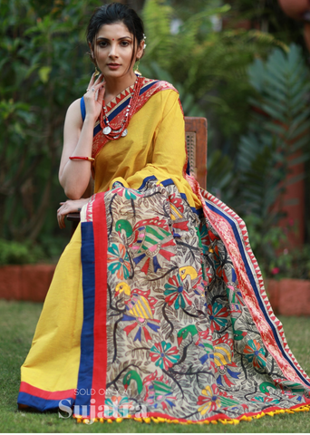 Handloom cotton saree with intricate hand painted madhubani pallu