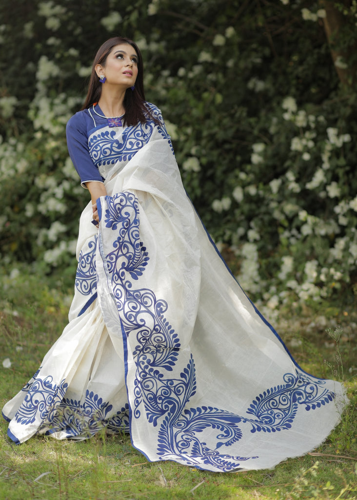 White bengal cotton saree with hand painted blue alpana