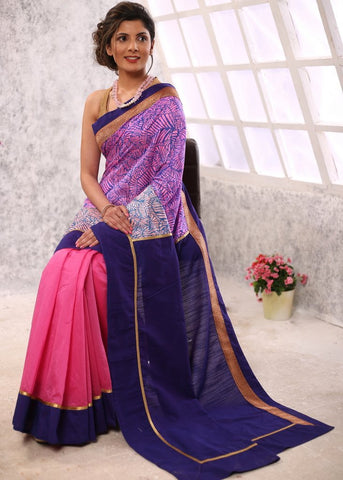 Printed Raw silk with pink chanderi pleats & blue cotton silk combination saree
