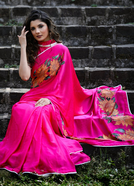 Exclusive pink crepe satin saree with hand painted floral motifs