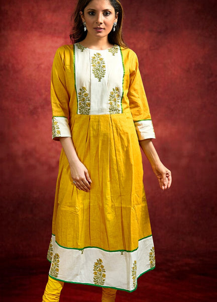 Mustard Handloom Cotton Kurta with Floral Blockprint Combination