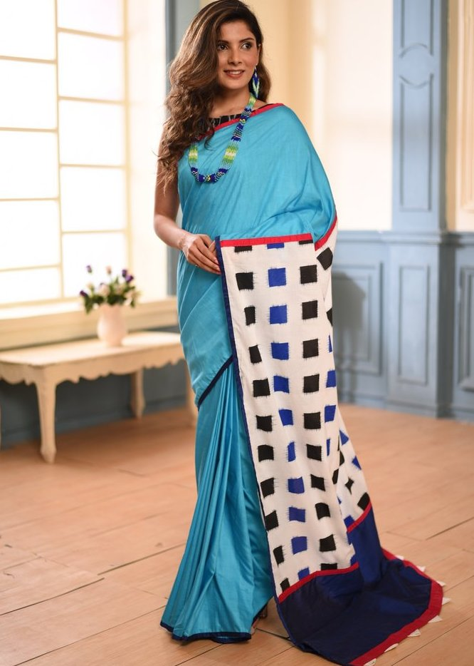 Blue semi silk saree with printed cotton pallu