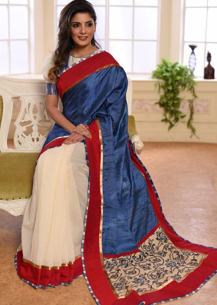 Blue pure tussar silk & white chanderi combination saree with printed pallu - Sujatra
