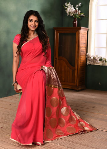 Pink Georgette saree with exclusive benarasi pallu