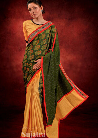 Ajrakh & Ikat combination saree with kutch mirror work handloom cotton saree
