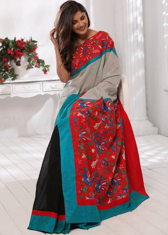 Chequred pure cotton with kantha work pallu and front with black chanderi pleats saree