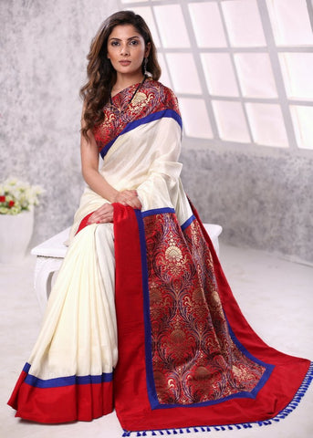 Off white pure silk saree with pure benarasi work pallu & border