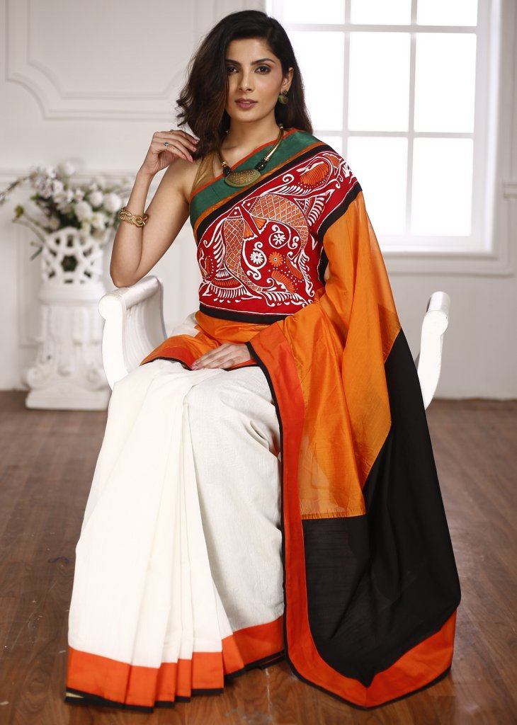 Orange & Off white chanderi saree combination with hand painted patch in front - Sujatra