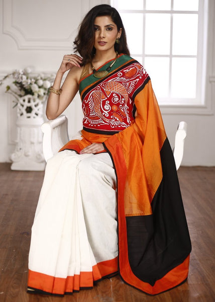 Orange & Off white chanderi saree combination with hand painted patch in front