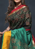 Exclusive hand painted black chanderi saree with painted cotton silk pallu