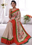 Exclusive hand painted semi silk saree with floral motifs - Sujatra