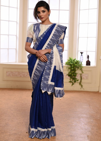 Blue chanderi saree with ikat border & matching BP