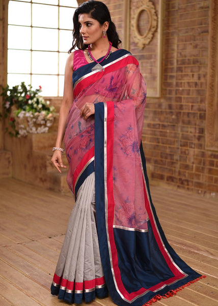 Printed Organza & grey chanderi saree with zari border - Sujatra