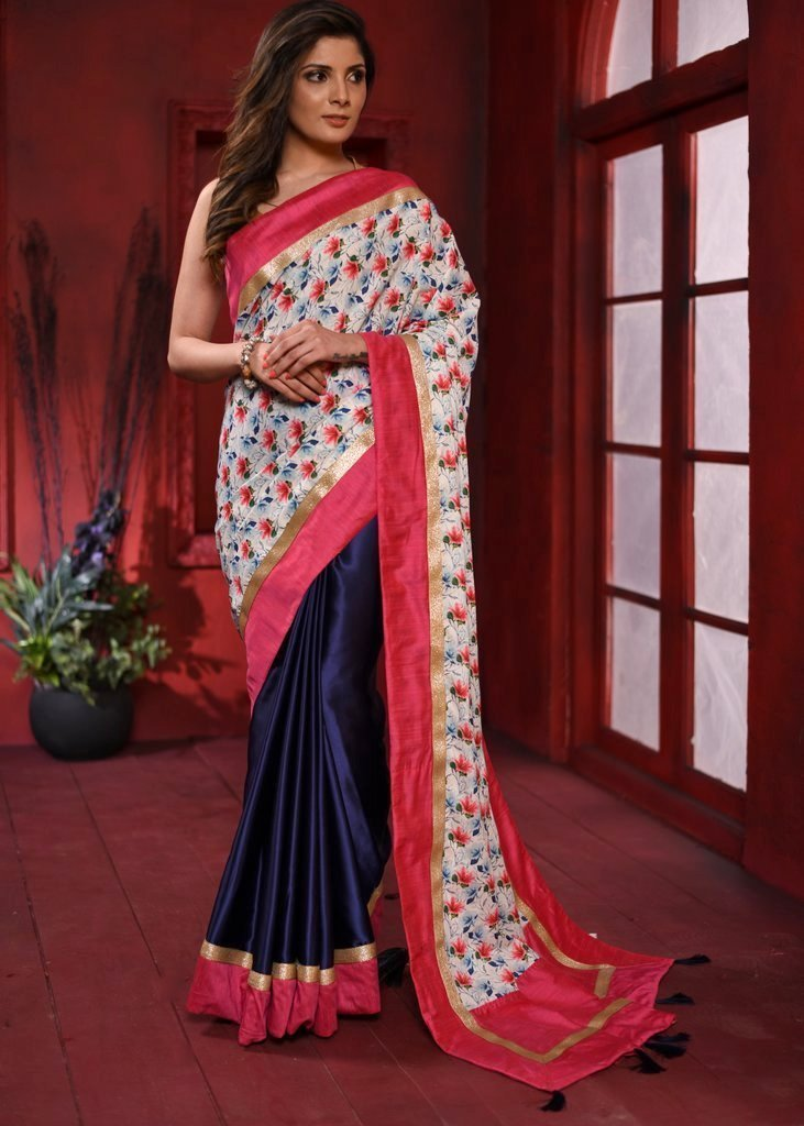 Exclusive floral printed & navy blue combination crepe satin saree - Sujatra