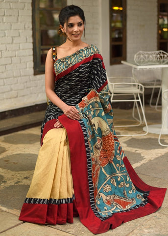 Exclusive ikat & hand painted kalamkari pallu combination saree with chanderi pleats