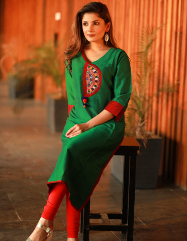 Green Straight cut Cotton silk kurta with exclusive Handmade Kutch embroidery