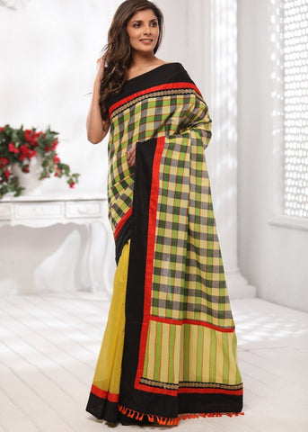 Checks handloom gamcha cotton with yellow chanderi pleats
