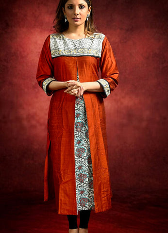 Rust Cotton Silk Kurta with Jaipuri block printed Center Pleats and Yoke
