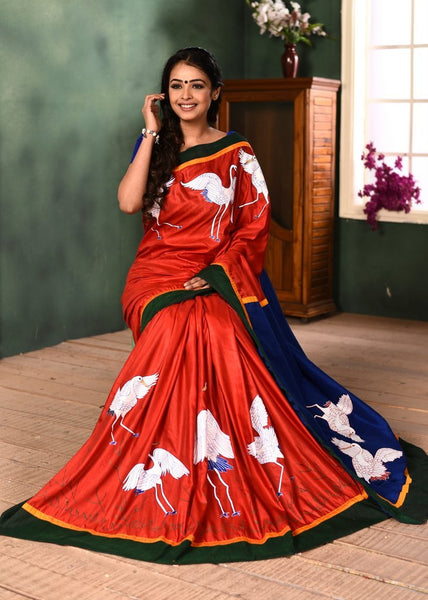 Combination of red & blue semi silk saree with exclusive hand painted motifs - Sujatra