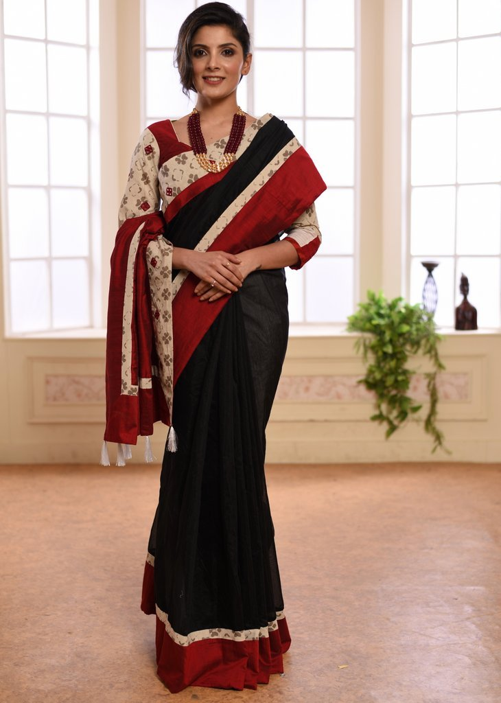 Black Chanderi saree with printed border with matching BP