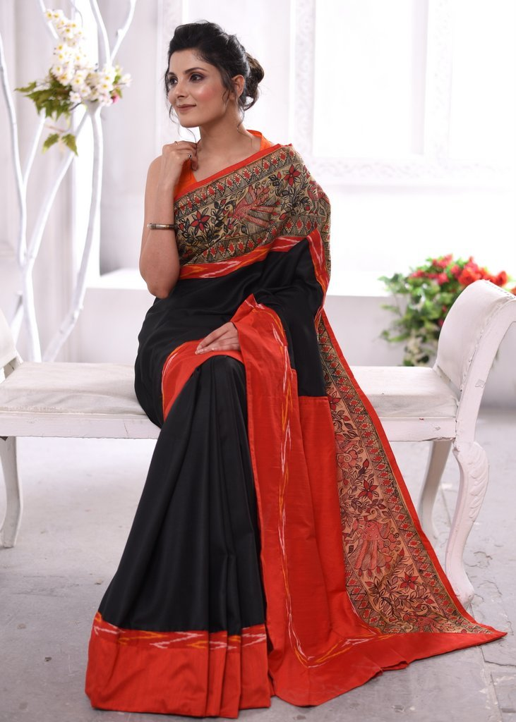 Black cotton silk saree with hand painted madhubani border & ikat border - Sujatra