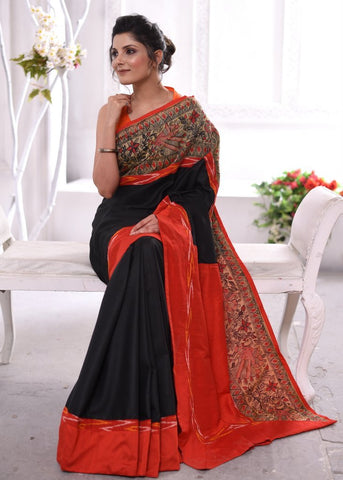 Black cotton silk saree with hand painted madhubani border & ikat border