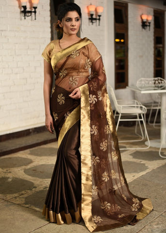 Embroidered net saree with brown satin pleats