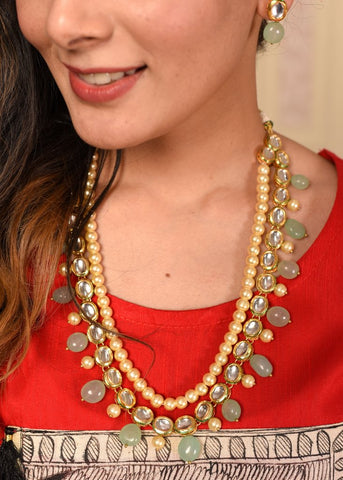 Exclusive three layer pearl, kundan & stone combination necklace set