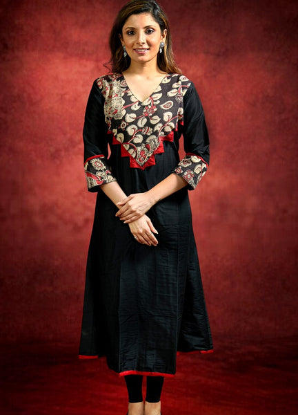 Black Cotton Silk Kurta with Kalamkari Yoke