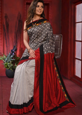 Exclusive ikat & kutch mirror work combination saree with grey chanderi pleats