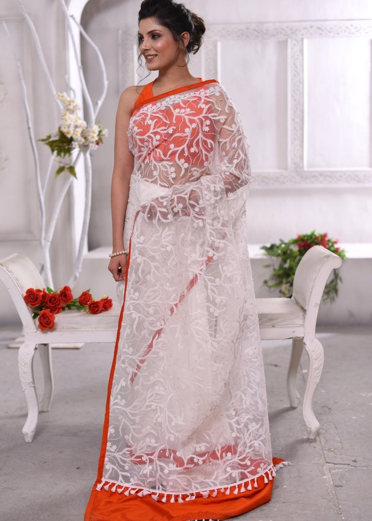 Exclusive pearls embroidered net saree with satin pleats combination - Sujatra