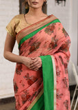 Printed organza saree with peach chanderi pleats