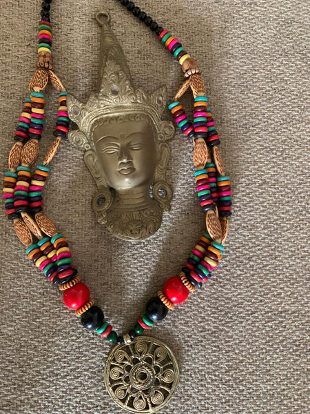 Exclusive hand crafted dokra art wooden beaded necklace