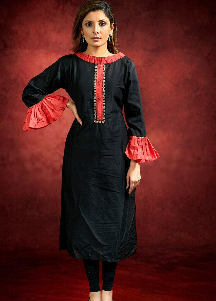 Black Cotton Silk Kurta with  contrast Printed Placket and  Frill Sleeves