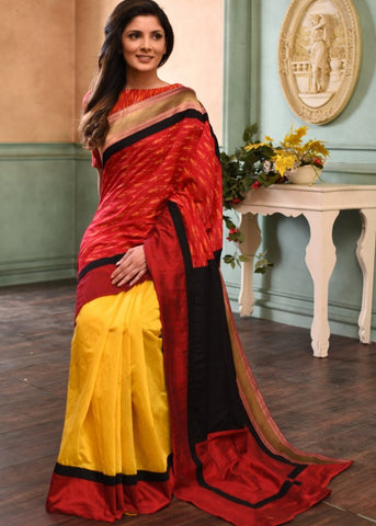 Exclusive ikat & yellow chanderi combination saree with zari border